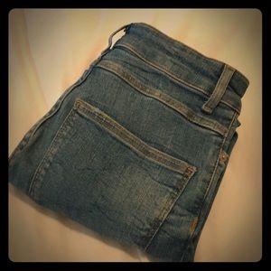 Zara denim high rise ripped hem jeans